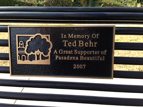 Park bench dedicated to Ted Behr